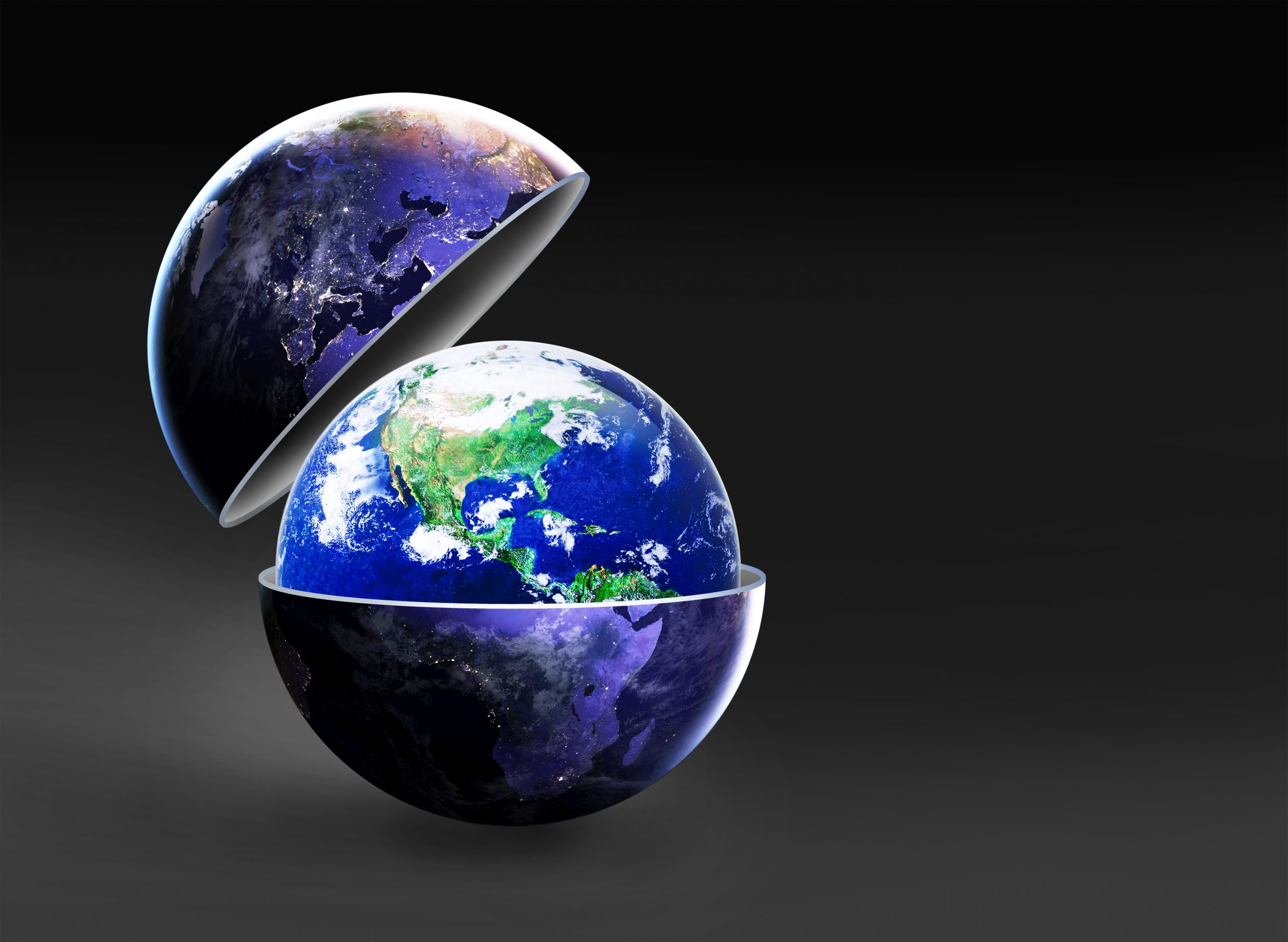 open up your eyes to the new World, New world idea concept, Earth in dark open up to show the bright day earth inside on dark background, Elements of this image furnished by NASA,